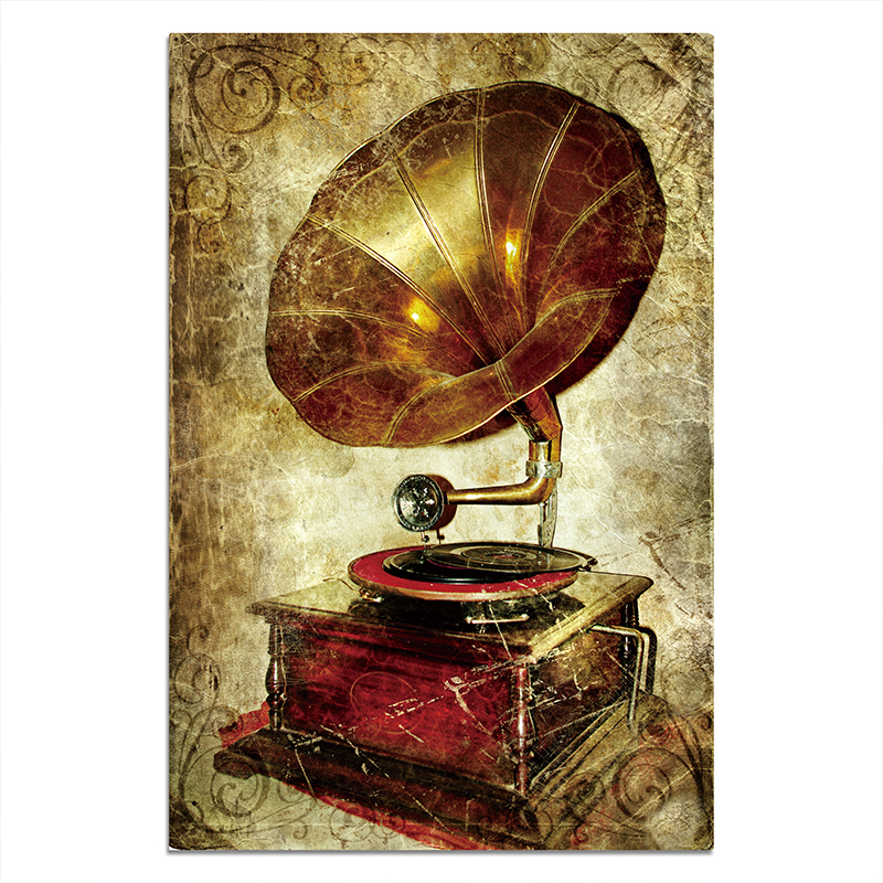 Copper Vintage Gramophone Posters And Canvas Print Painting Art