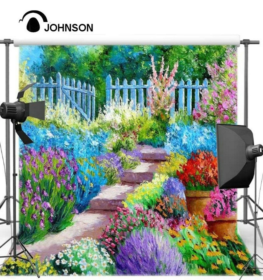 Compare prices on vinyl garden fence online shoppingbuy low vinyl cloth wall scenery high quality spray painted fence tree colour flower garden staircase watercolor studio baanklon Image collections
