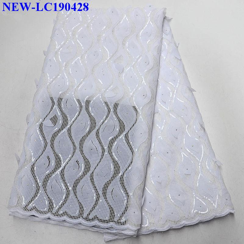 Sequins African 3D applique Lace Fabric High Quality African Tulle Lace Fabric For Wedding dress Guipure