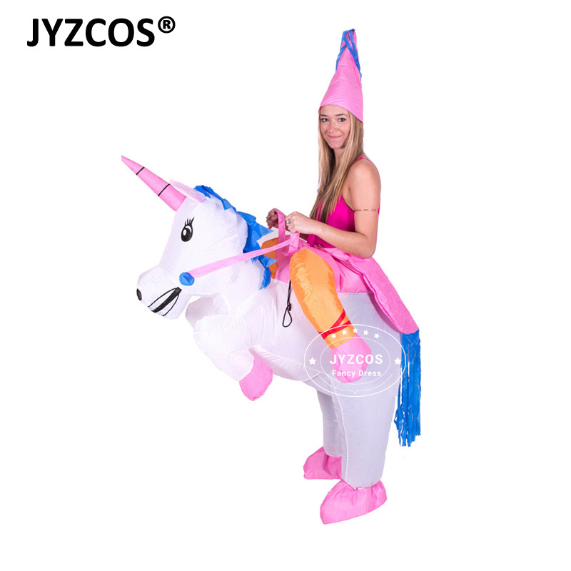 Uppblåsbara Unicorn Kostymer Carnaval Princess Outfit Purim Party Fancy Dress Halloween kostymer för barn kvinnor män vuxna