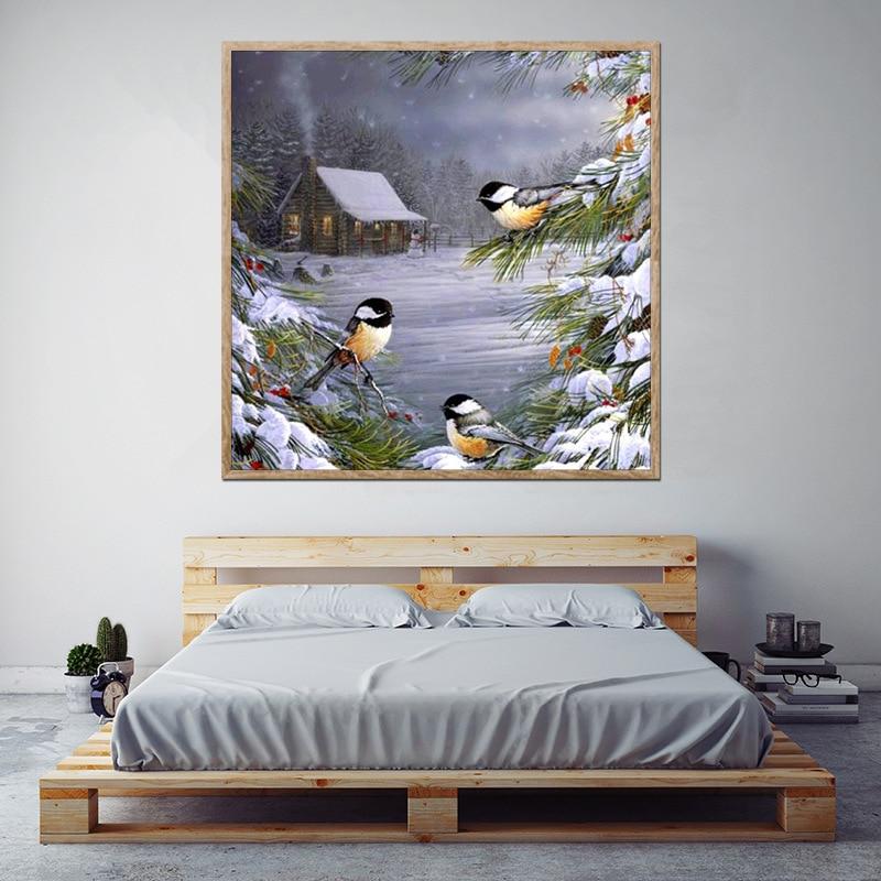 New 5d diamond painting snow cabin three bird parrot diamond painting full square diamond cross stitch mosaic diamond rhinestone in Diamond Painting Cross Stitch from Home Garden