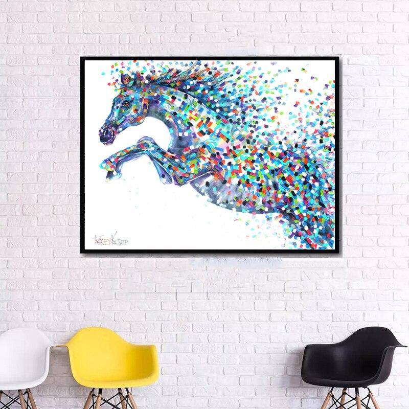 RELIABLI Leinwand Malerei Tier Kunst Abstrakte Bunte Pferderennen Bild Wand  Kunst Drucke Dekorative Bild Für Wohnzimmer