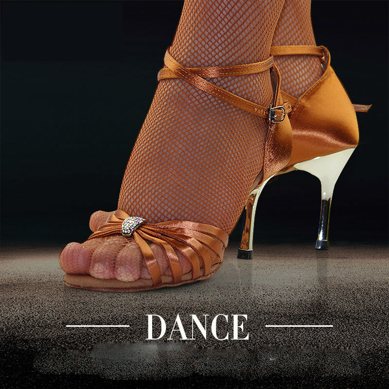 Latin dans skor modern kvinna fitness andas damer aerobics skor sneakers applikationer bruna högkvalitativa kuponger BD2311