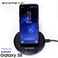 ECDREAM Qi Wireless Charger For Samsung Galaxy S8 S7 Dock Mobile Phone Power Adapter USB Portable