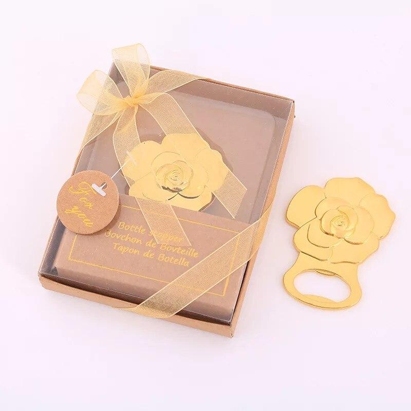 Return Gifts For Wedding Anniversary: 50pcs Gold Rose Flower Design Wedding Return Gifts