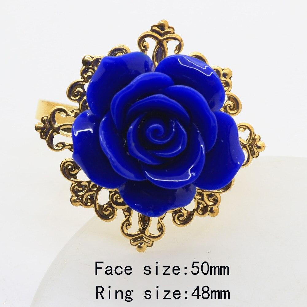 NEW Blue Roses Napkin Ring Golden Decorative Iron napkin rings Holder Wedding Napkins cloth Decorative deduction Table Banquet