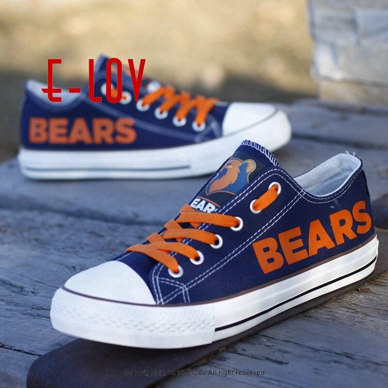 Новинка 2017 года Chicago Bears парусиновая обувь нам Футбол команды Вентиляторы Логотип Печать повседневная обувь Обувь для мальчиков Человек Рос...