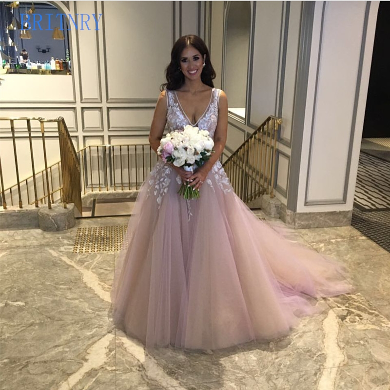 BRITNRY 2019 V Neck Pink Plus Size A Line Color Wedding