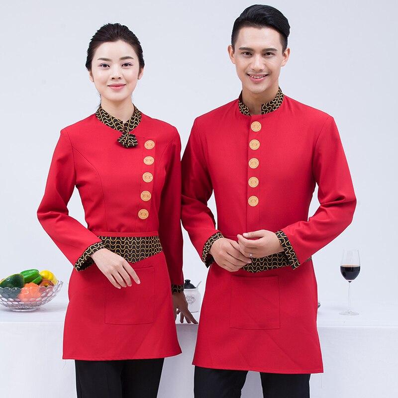 Chinese Hotel Restaurant Waiter Overalls Uniform Work Long Sleeved Farmhouse Restaurant Hot Pot Shop Autumn And Winter J364