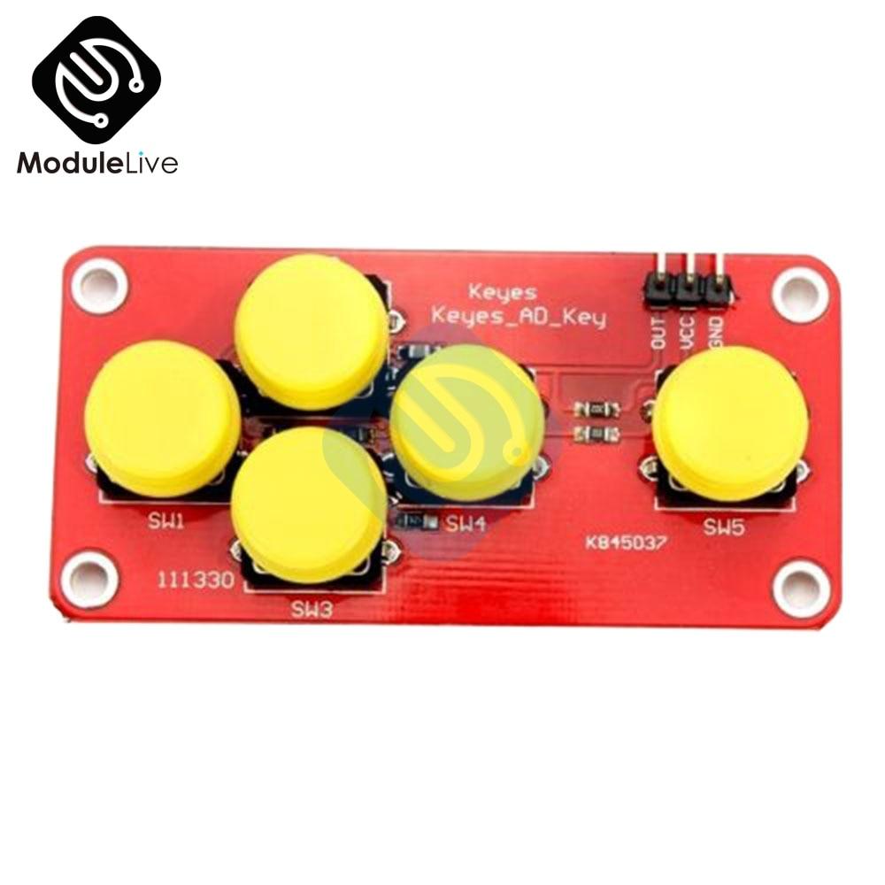 AD Keyboard Simulate Five Key Module Electronic Blocks Analog Button 5 Digits For Arduino Sensor Expansion Board