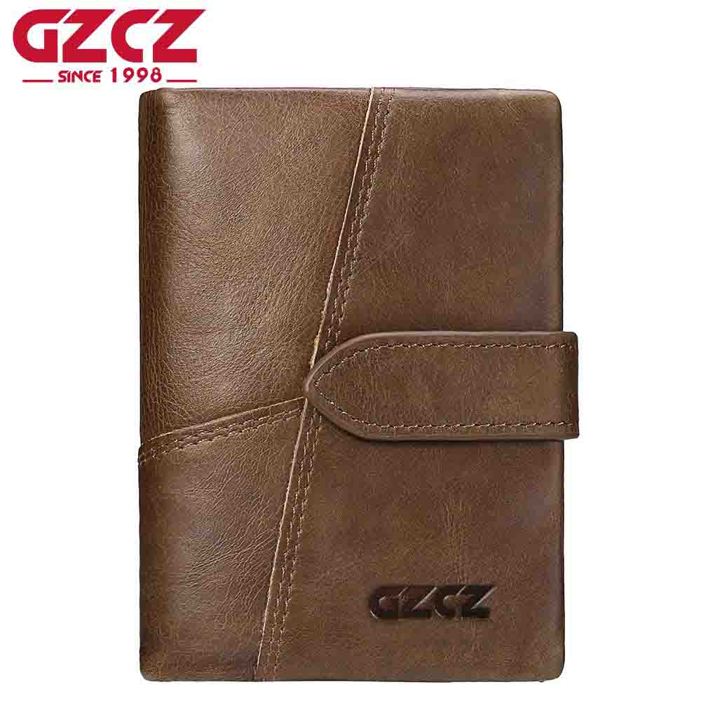 GZCZ Genuine Leather Retro Men Wallets High Quality Famous Brand Hasp Design Male Wallet Card Holder for Men's Purse Carteira casual weaving design card holder handbag hasp wallet for women