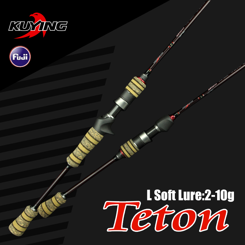 KUYING Teton L 1.98m 6'6 '' Baitcasting Casting Spinning Lure Fishing Rod Soft Tiang Cane Light Serat Serat Karbon Cepat Medium