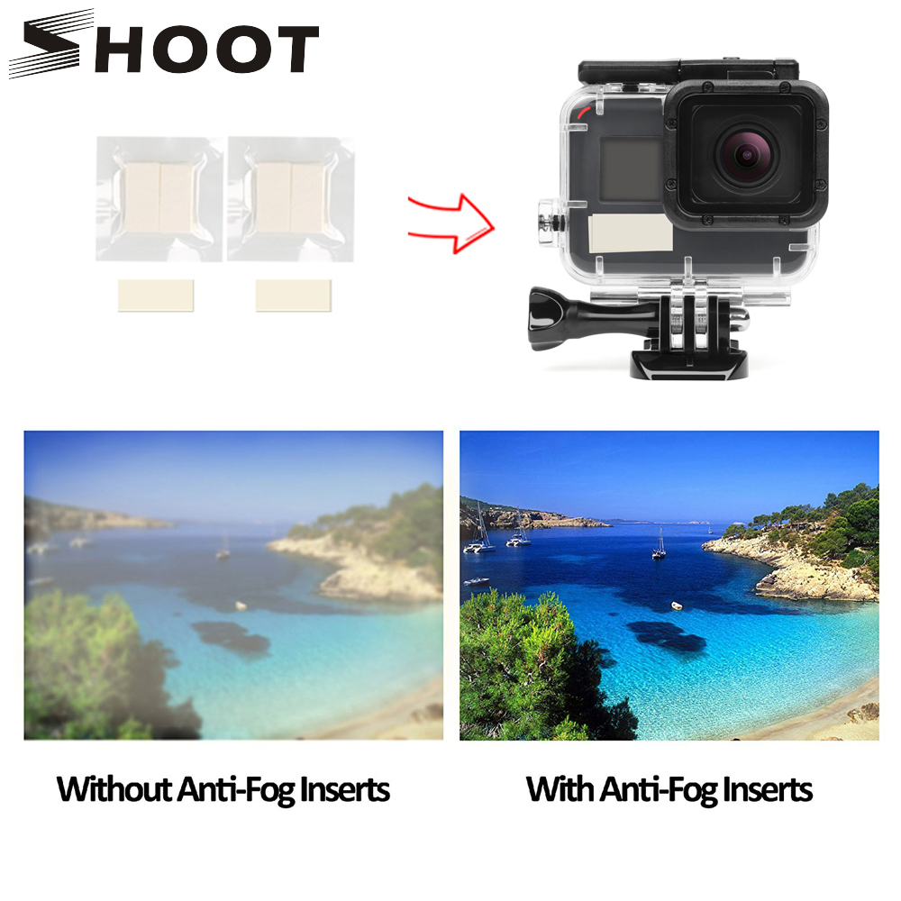 SHOOT 12Pcs Anti Fog Inserts For GoPro Hero 8 7 6 5 Black 4 Sjcam Xiao Yi 4K Action Camera Waterproof Case For Go Pro Accessory