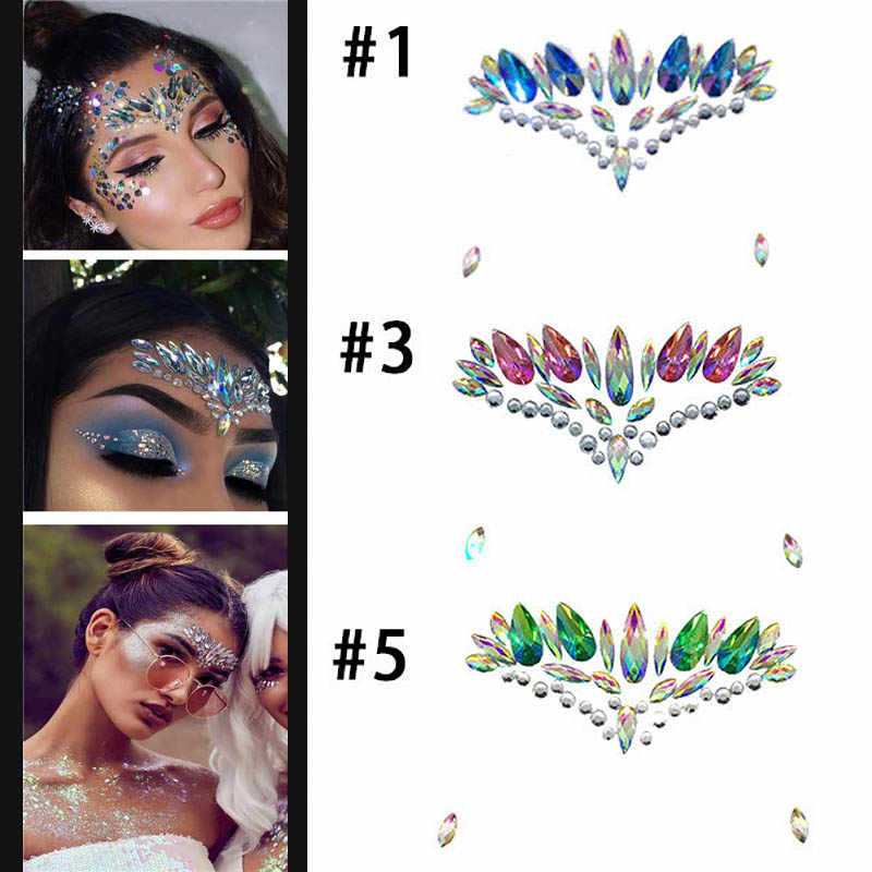 Holographic Rhinestone Tattoo Stickers Face Glitter Makeup Festival Party Makeup Body Art Gem Flash Tattoo Sticker Stage Make Up Aliexpress
