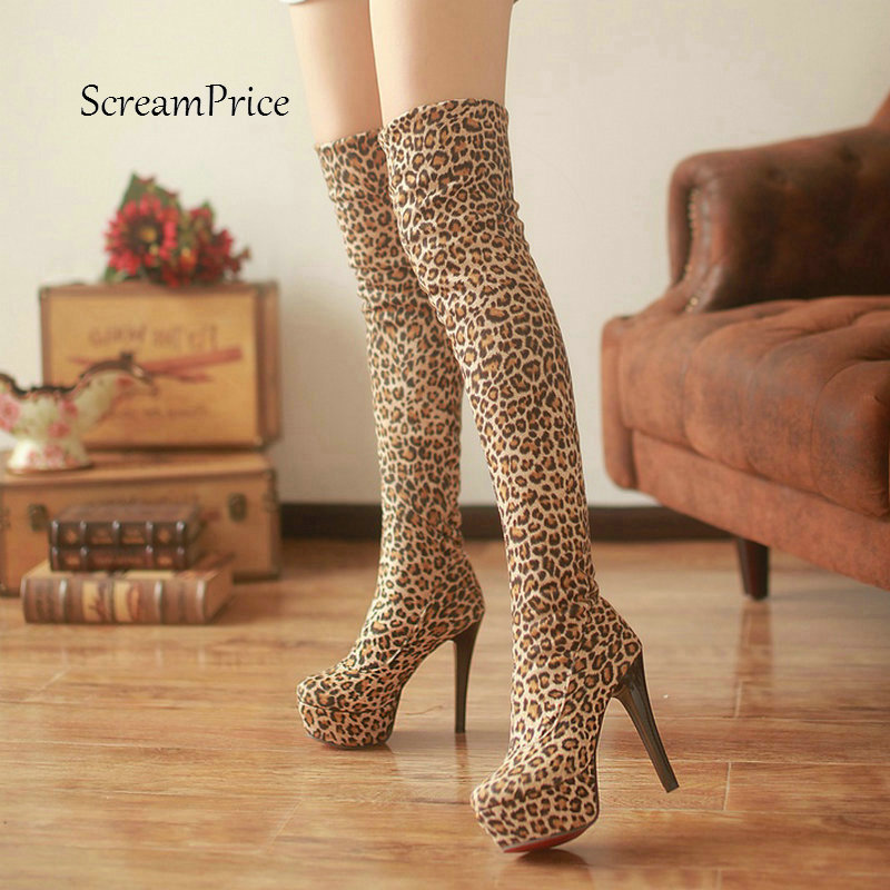 Women Comfortable Platform Super Thin High Heel Over The Knee Boots Fashion Sexy Leopard Winter Thigh