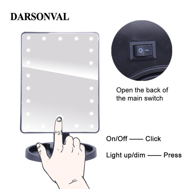 LED Professional Lighted Mirror With Light for makeup Adjustable Light 16/22 Touch Screen Table make-up led mirror Eyelash Brush 5