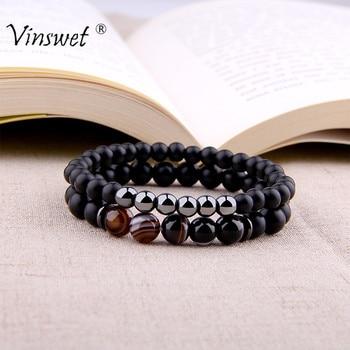 Fashion 2pcs Bracelet Men Natural Striped Agates Matte Black Onyx Beads Bracelet for Women&Mens Hematite Energy Jewelry Pulseras