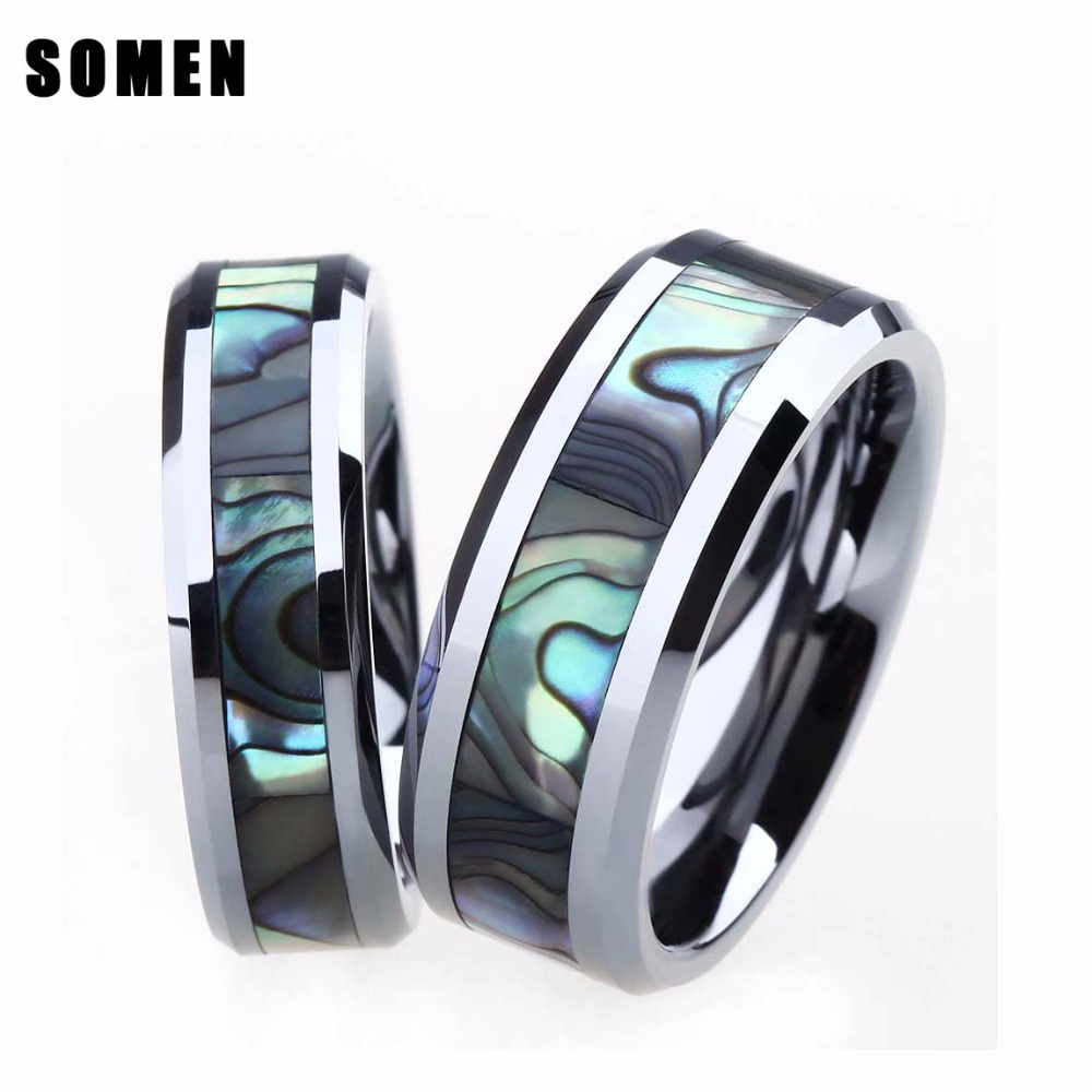 2 stuks 6 MM & 8 MM Ring Set Voor Paar Tungsten Ring Luxe Abalone Shell Wedding Engagement Ring Lover's Sieraden alliantie anel boho-in Ringen van Sieraden & accessoires op  Groep 1