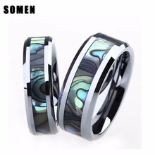 6MM/8MM Mens Womens Tungsten Carbide Ring Engagement Wedding Band Abalone Shell Inlay Polished Sets for Couples alliance anel