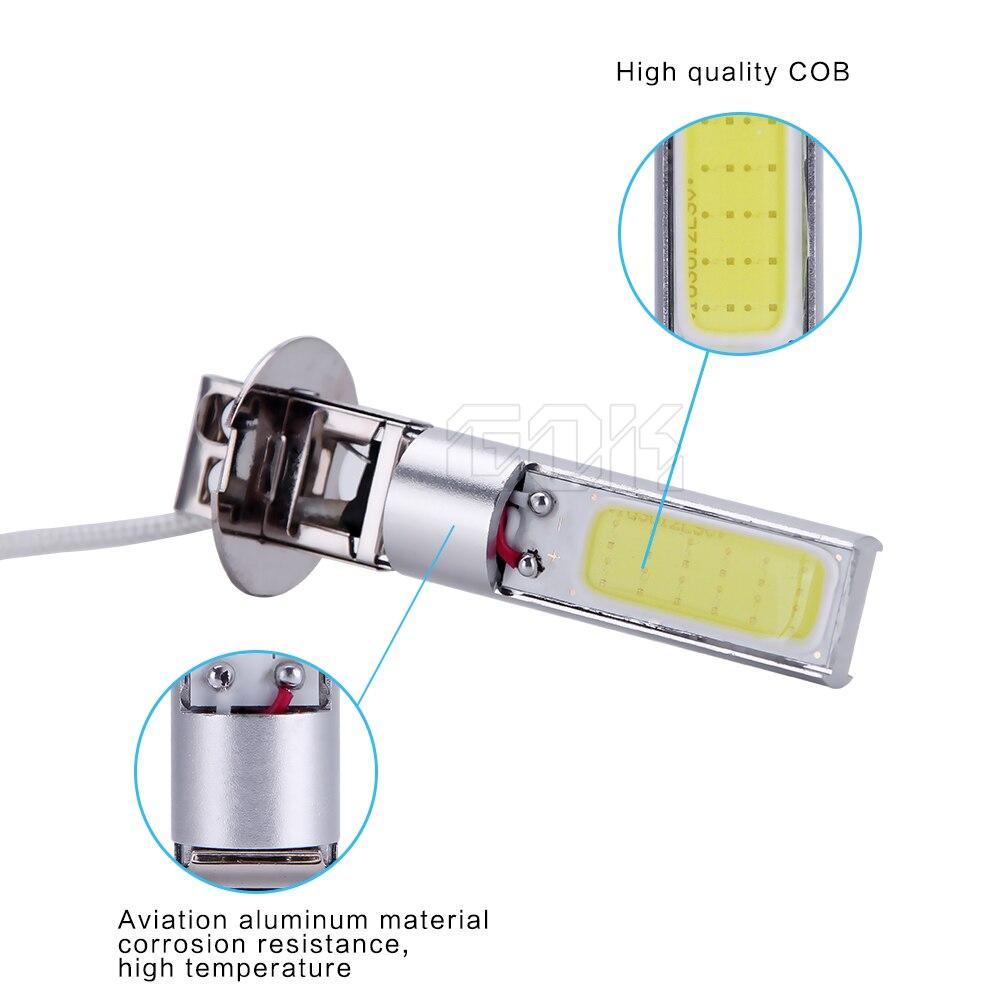 50 шт./лот H3 cob Чип H7 H11 H4 H3 H1 на основе технологии COB 20 Вт Автомобильный светодиодный противотуманный Автомобильный СВЕТОДИОДНЫЕ лампы фар автомобиля Бег свет 12В, производство Китай