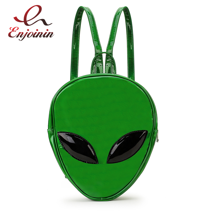 New Dazzling Fashion Green Alien Style Pu Leather Laser Women Zipper Bag Mini Travel Bag Girl