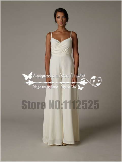 Awp 1054 Spaghetti Chiffon Wedding Jumpsuit Dresses Wide Leg Pants