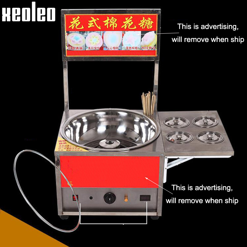 Xeoleo Commercial Gas Cotton Candy machine Fancy Cotton Candy maker Gas Candy floss machine Stainless Steel Colorful Flower Shap fancy pants candy corn