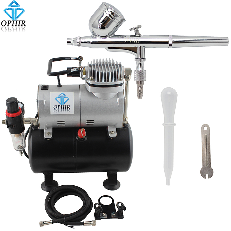 OPHIR 110V,220V Dual Action Airbrush Kit wirh Air Tank Compressor for Tanning Model Hobby Nail Art Airbrush Sets _AC090+AC004A ophir temporary tattoo tool dual action airbrush kit with air tank compressor for model hobby cake paint nail art ac090 ac004