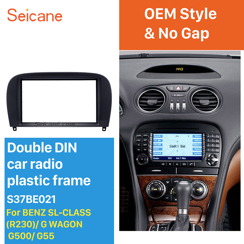 Seicane Car Radio Fascia Mount Kit Cover Plate Panel for Mercedes Benz SL CLASS(R230) G WAGON G500 G55 In Dash Bezel Trim kit