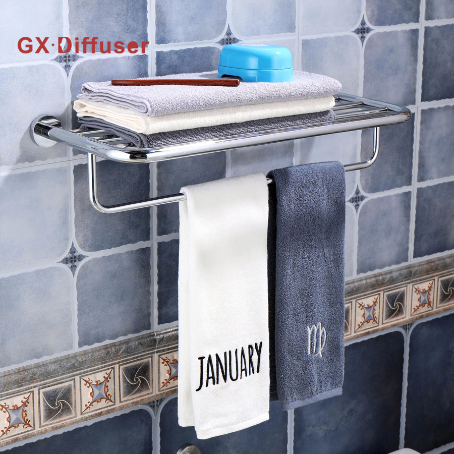 GX Diffuser Stainless Steel Towel Rack Shelf Bathroom Polished Towels Holder Hanger Rail polished stainless steel ice utility tong 30cm length