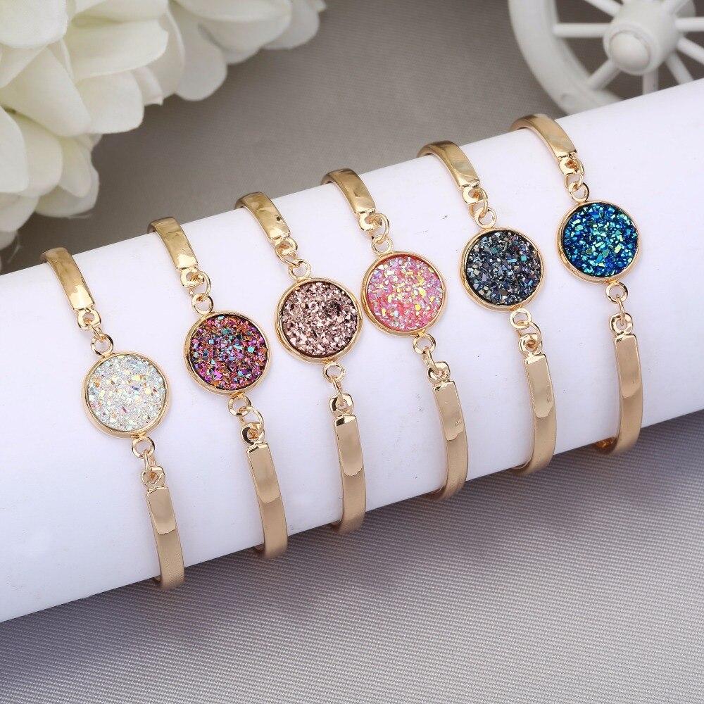 Nouveau Bracelet de mode étincelant fait à la main Femme Bracelets Nature pierre Bracelet grand Druzy pierre lunette réglage grand ton bijoux