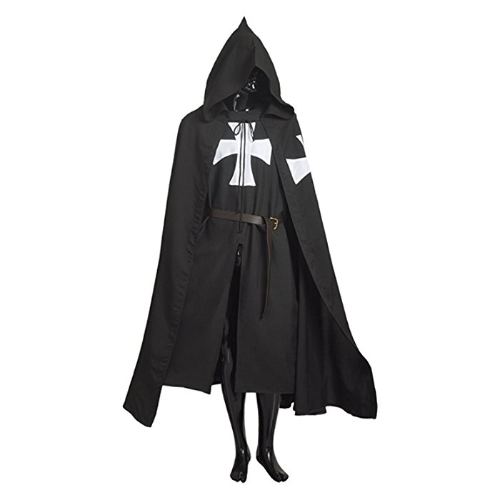 Halloween Medieval Costume Robe Knights Templar Ordre du Temple Cloak Hospitaller Tunic Cape