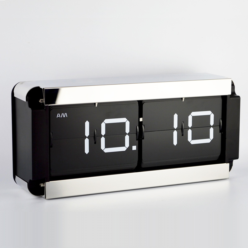 1 Pieces 14 Inch 5 Color Large Size Stainless Steel Auto Flip Table Clock For Office