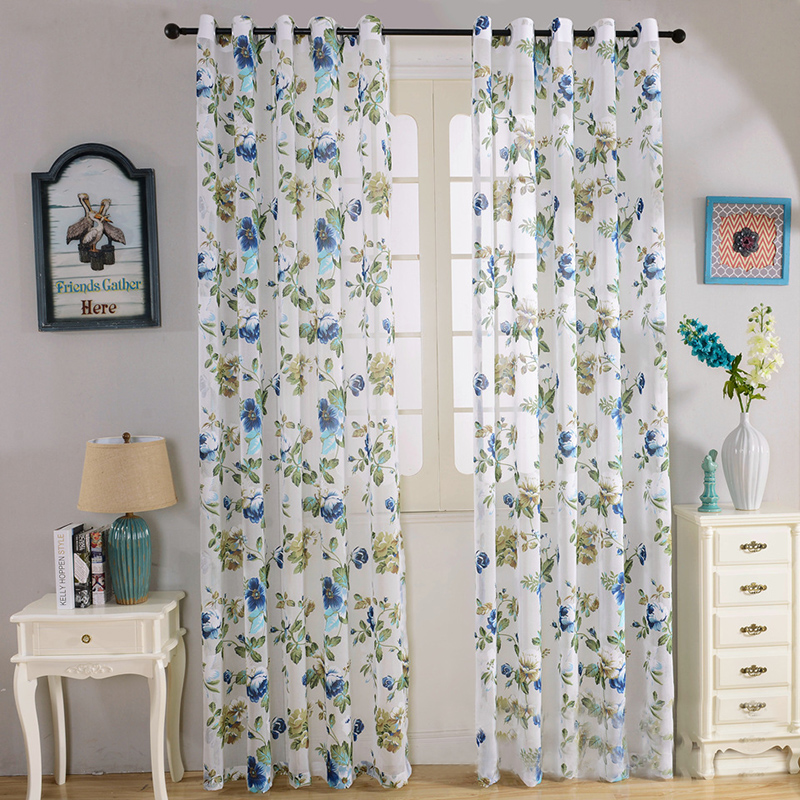 American Style Jacquard Blackout Curtains Printed Bedroom Cloth Curtain Home Textile Short For Kitchen Single