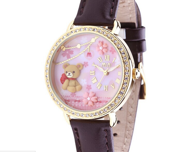 Lovely Clay Bear Quartz Watch Luxury Women Crystals Dress Clock Original Korean Mini Handmade Wristwatch 30M Waterproof NW862 romantic girls lovely clay rabbit watches original quartz leather strap wristwatch factory price korean mini brand clock nw840