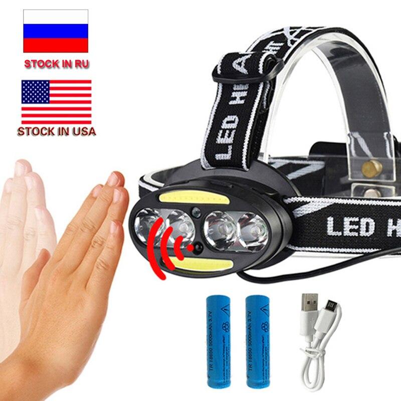 CZK20 inductivo Sensor de movimiento del cuerpo 10000LM LED cabeza de la lámpara luz 4 * T6 + 2 * COB faro delantero + 2x18650 batería + cargador USB