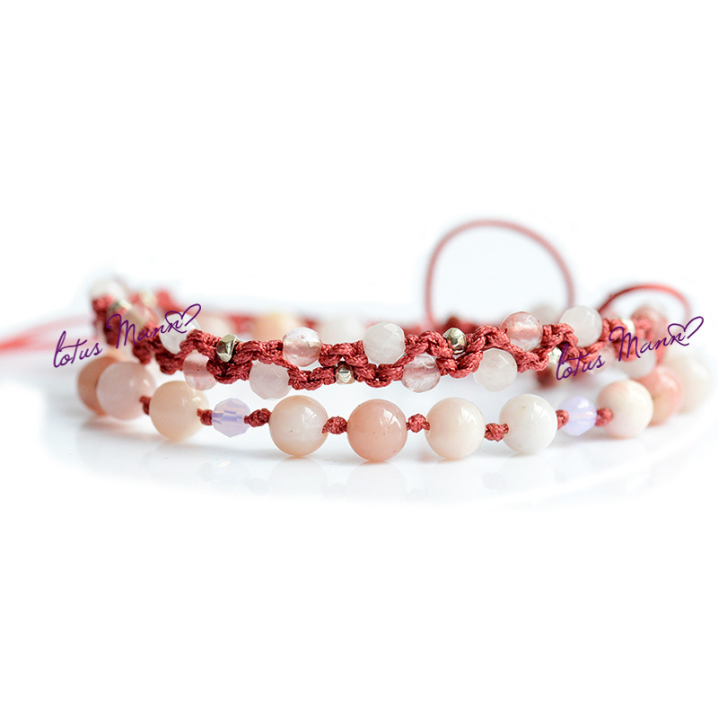 Lotus Mann Natural pink opal and silver pearl powder weaving a group two bracelets