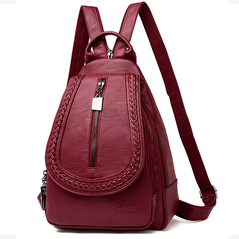 цена на Sac A Dos Women Multifunction Backpack Female Leather Chest Bag Large Capacity Ruched Backpack School Bag Girl Travel Back Pack