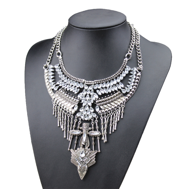 vintage necklace 2015 new fashion bohemian style jewelry acrylic stonewing necklace retro alloy cross pendant necklace