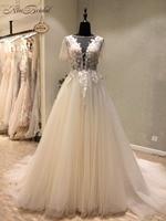 Vestido novia Yeni İnanılmaz Uzun Düğün Elbise O-Boyun Kısa Kollu A-Line Mahkemesi Tren Aplikler Tül Gelinlikler