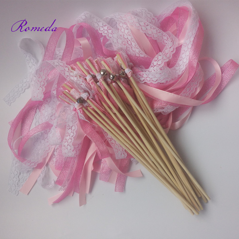50pcslot pink glitter wedding ribbon wands stick ceremony wands triple streamer with sliver bell