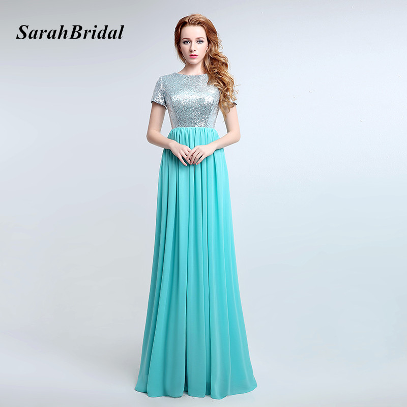 2017 Simple Turquoise Long   Bridesmaid     Dresses   With Sequin Bodice Chiffon Short Sleeve Gala   Dress   Wedding Party Gowns SD360