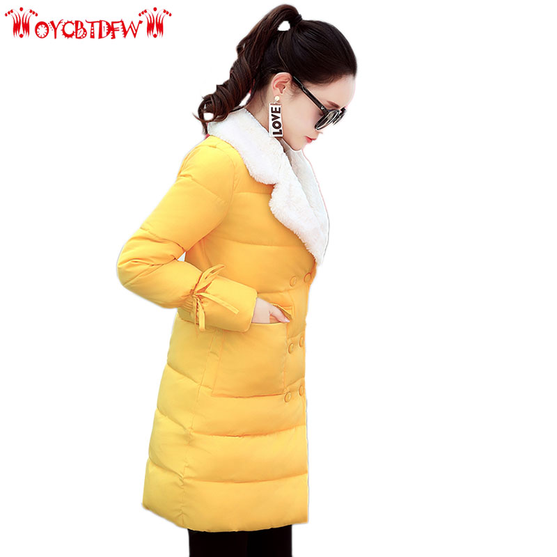 winter women Cotton coat 2017 fashion new pure color Large size medium Long section Single Breasted Keep warm women Parkas ll162 free shipping boruoss 2015 new fashion winter cotton coat women short single breasted coat boruoss w1292
