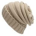 Color sólido Sombrero Gorro de Algodón de Lana de Punto Baggy Cap Gorros de Lana Caliente del Invierno de Punto de Esquí Gorros Cap
