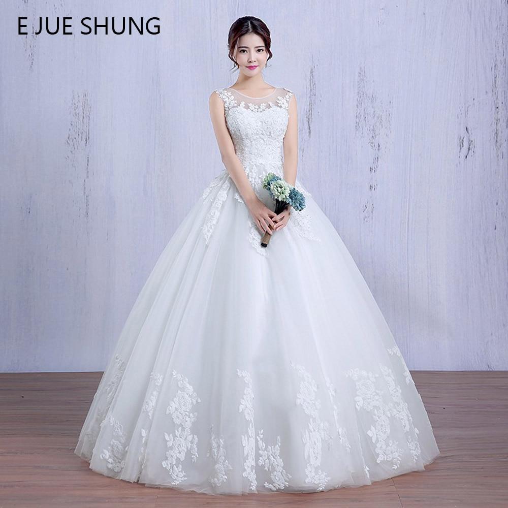 E JUE SHUNG Vita Blå Appliques Bollklapp Billiga Bröllopsklänningar 2018 Snörning Snygga Beaded Bröllopsklänningar Kappa Mariee