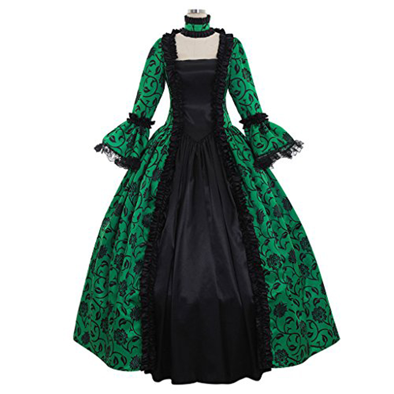 Hot Sale Green and Black Georgian Reenactment Gothic Victorian Dress Prom Gown Theater Women Clothing ...