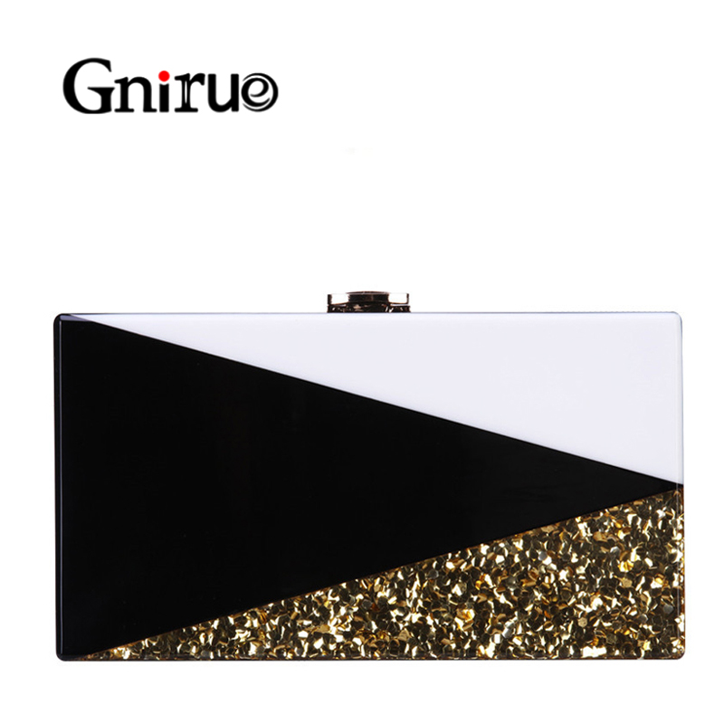 Black White Women Messenger Bags Geometric Lattice Patchwork Acrylic Evening Bags Gold Sequins Clutches Bag Party HandBag Wallet
