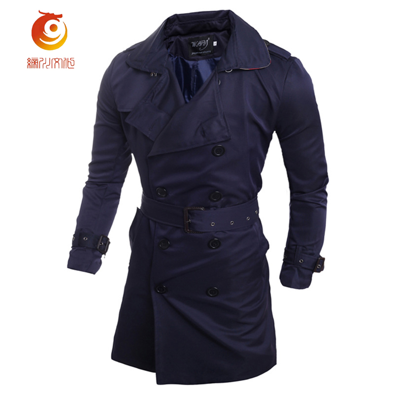 European Style 2017 Long Trench Coat Men Classic Fashion Double Breasted Trench Coat Men Slim Fit Windbreaker Plus Size 2XL