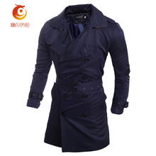 European Style 2017 Long Trench Coat Men Classic Fashion Double Breasted Slim Fit Windbreaker Plus Size 2XL