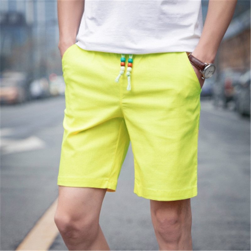 Summer loose breathable linen   shorts  , thin solid color cotton beach   shorts  , Korean trend students slim casual   shorts